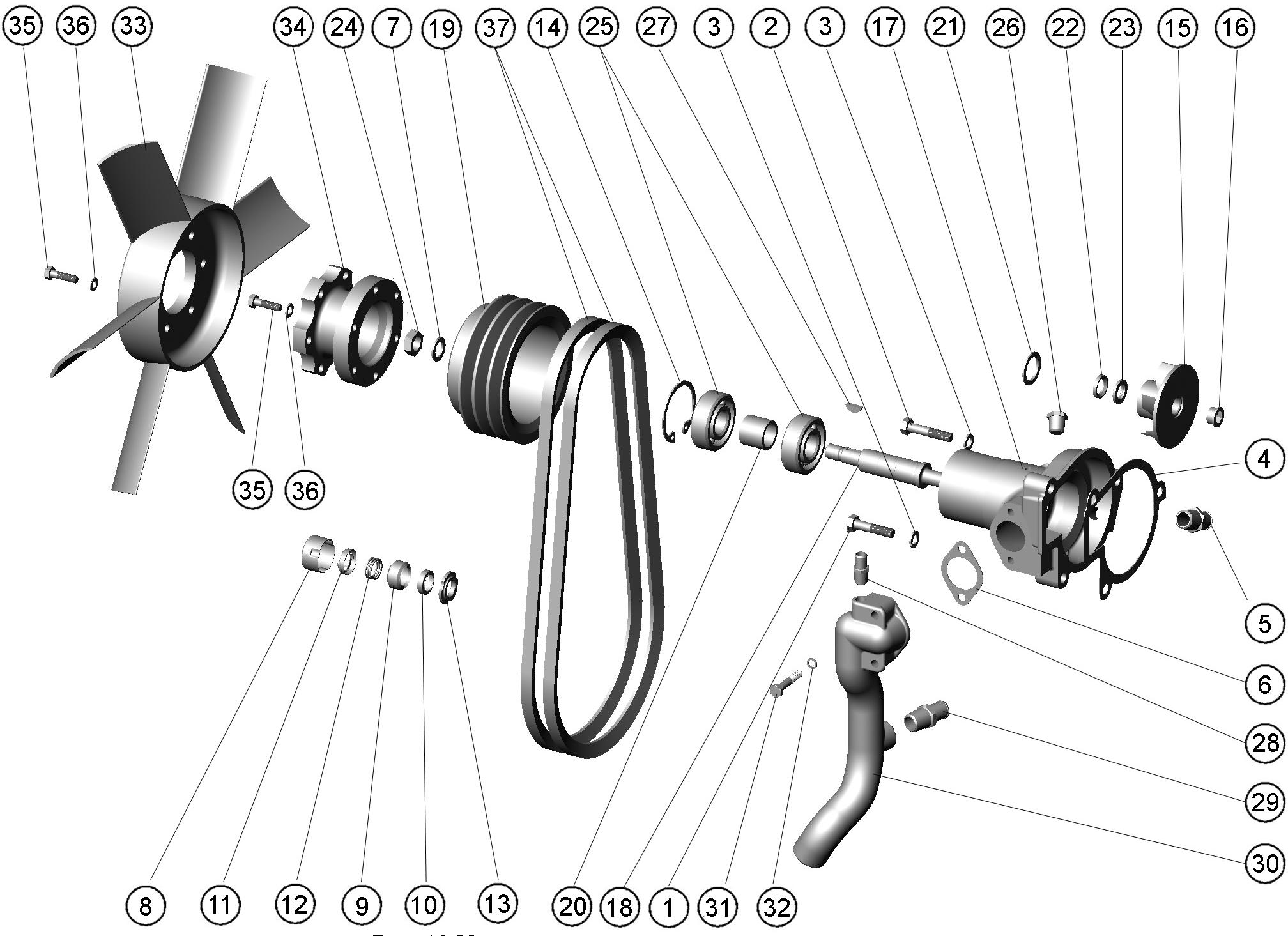Pompa de apa. Ventilator (D-245 S2) MTZ 1025.3