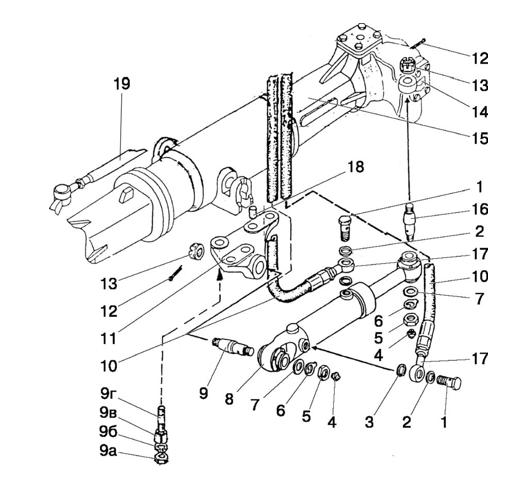 Cilindru hidraulic C63 și instalația (PF 822-2300020-02)